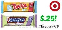 Stock Up! Snickers & Twix Eggs, 2 Pks Only $.25 each at Target through 4/9!