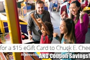 $10 for $15 Chuck E. Cheese GC + Coupon Savings to Sweeten the Deal!!