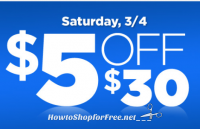 Today Only, $5 off $30 DG Coupon! (Sat, 3/4)