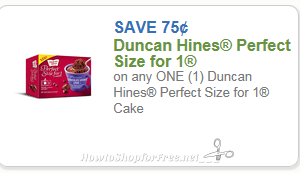 $.75/1 Duncan Hines Perfect Size for 1 ~Possible Freebie? ~