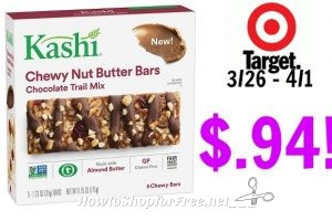 Kashi Chewy Nut Butter Bars, 5 ct Only $.94 at Target through 3/30!