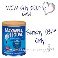 WOW MAXWELL HOUSE COFFEE 11.5oz ONLY $0.04 AT CVS SUNDAY 03/19 ONLY!!!