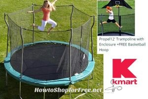 12′ Trampoline+FREE Basketball Hoop $166 from Kmart! ($400 Value)