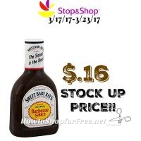 Wow Sweet Baby Rays Sauce only .16¢ at Stop & Shop!(3/17/17-3/23/17)