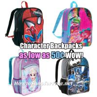 Kid's Character Backpacks, as low as .50 at Walmart!