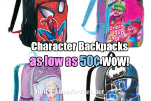 Kid's Character Backpacks, as low as .50 at Walmart!