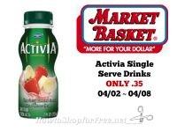 Activia Single Serve Drinks ONLY .35 at Market Basket 04/02 ~ 04/08!