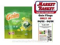 Gain Flings ONLY .99 at Market Basket 04/02 ~ 04/08!