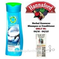 Herbal Essences Shampoo or Conditioner ONLY .99 at Hannaford 04/16 ~ 04/22!