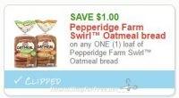 **NEW Printable Coupon** $1.00 off one Pepperidge Farm Swirl Oatmeal bread