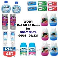 WOW! Get 20 Items at Rite Aid for ONLY $3.72 – 04/16 ~ 04/22