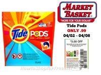 Tide Pods ONLY .99 at Market Basket 04/02 ~ 04/08!