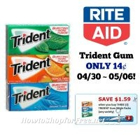 Trident Gum ONLY 14¢ at Rite Aid 4/30 ~ 05/06!