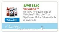 $8.00 off 2 Valvoline Motor Oil ~Rare #Auto Coupon!