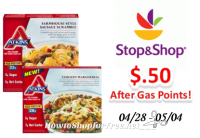 Atkins Frozen Entrees or Breakfast only $.50 at Stop & Shop after gas points!
