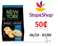 New York Style Pita or Bagel Chips only $.50 at Stop & Shop!