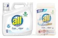 all® free clear $8-$9 at Walmart ~ 141oz. Liquid or 67ct. Pacs!