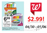 Centrum Vitamins only $2.99 at Walgreen's!