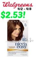 Clairol Nice 'n Easy Hair Color, Only $2.53 at Walgreens! 4/2 – 4/8