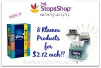Hot Deal Scenario! 8 Kleenex Products for only $2.12 each at Stop & Shop(4/21/17-4/27/17)