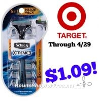 Schick Xtreme3 6-in-1 Disposable Razors Only $1.09 at Target through 4/29!