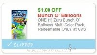 **NEW Printable Coupon** $1.00/1 Zuru Bunch O' Balloons Multi-Color Pack, Redeemable ONLY at CVS