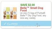 **NEW Printable Coupon** $2.00/1 bag of Purina Bella Dry Dog Food