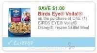 **NEW Printable Coupon** $1.00/1 BIRDS EYE Voila! Disney Frozen Skillet Meal