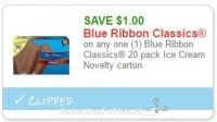 **NEW Printable Coupon** $1.00/1 Blue Ribbon Classics 20 pack Ice Cream Novelty carton