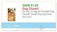 **NEW Printable Coupon** $1.50/1 bag of Purina Dog Chow Small Dog dog food, any size