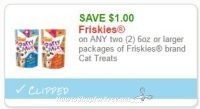 **NEW Printable Coupon** $1.00/2 6oz or larger packages of Friskies brand Cat Treats