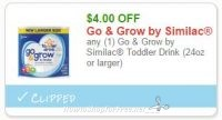 **NEW Printable Coupon** $4.00/1 Go & Grow by Similac Toddler Drink