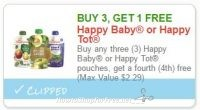 **NEW Printable Coupon** B3G1 FREE Happy Baby or Happy Tot pouches