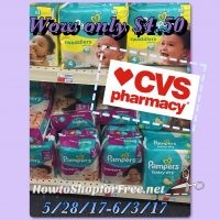 Hot Deal!Pampers Diapers $4.50 at CVS (5/28/17-6/3/17)