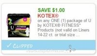 **NEW Printable Coupon** $1.00/1 U by Kotex Fitness Products