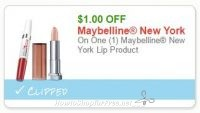 **NEW Printable Coupon** $1.00/1 Maybelline New York Lip Product