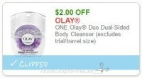 **NEW Printable Coupon** $2.00/1 Olay Duo Dual-Sided Body Cleanser (excludes trial/travel size)