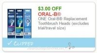 **NEW Printable Coupon** $3.00/1  Oral-B Replacement Toothbrush Heads