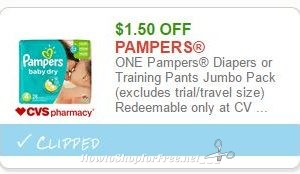 Save $1.50 ONE Pampers Diapers or Training Pants