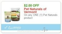 **NEW Printable Coupon** $2.00 off one Pet Naturals of Vermont