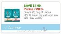 **NEW Printable Coupon** $1.00/1  bag of Purina ONE brand dry cat food