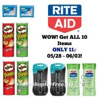 WOW! Get ALL 10 Items ONLY 11¢ at Rite Aid 05/28 ~ 06/03!