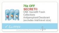 **NEW Printable Coupon** .75/1 ONE Secret Fresh Collections Antiperspirant/Deodorant