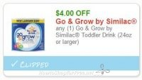 **NEW Printable Coupon** $4.00 off one Go and Grow by Similac Toddler Drink