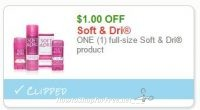 **NEW Printable Coupon** $1.00/1  full-size Soft & Dri product