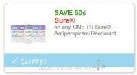 **NEW Printable Coupon** .50/1 Sure Antiperspirant/Deodorant