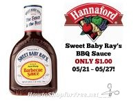 Sweet Baby Ray's BBQ Sauce ONLY $1.00 at Hannaford 05/21 ~ 05/27!