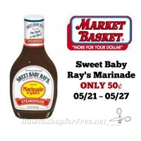 Sweet Baby Ray's Marinade ONLY 50¢ at Market Basket 05/21 ~ 05/27!