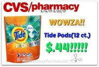 Wowza!!! Tide Pods .44¢ at CVS…RUNN!! (5/14/17-5/20/17)