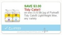 **NEW Printable Coupon** $3.00/1 8.5lb jug of Purina Tidy Cats LightWeight litter, any variety